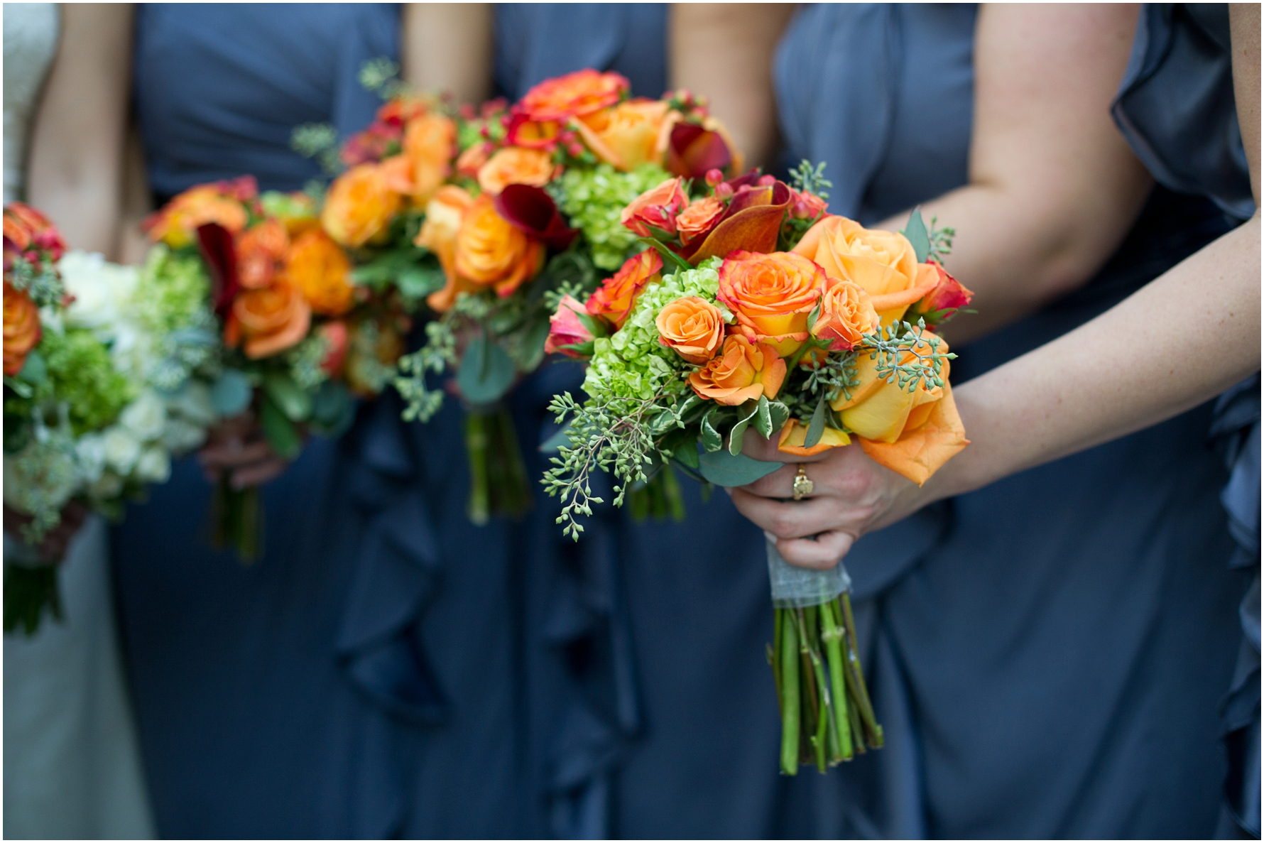 Orange and red flowers for a fall wedding