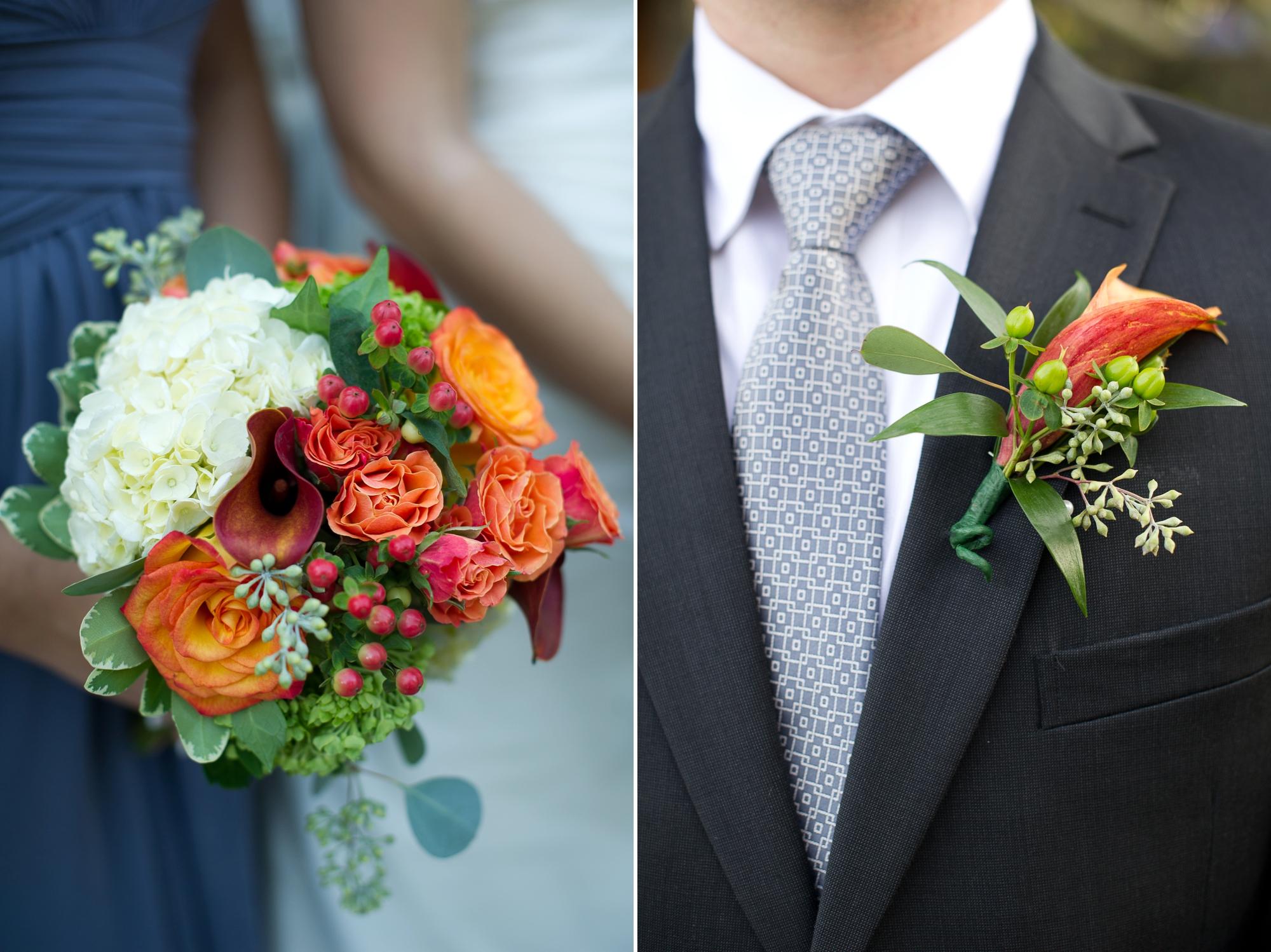 Orange flowers for a fall wedding
